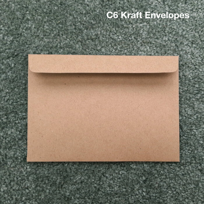 BOX of 500 Kraft Envelopes. Size C6 (114mm x 162 mm)