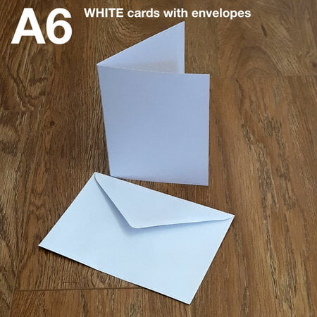 50 x A6 Blank Creased WHITE Cards - with envelopes