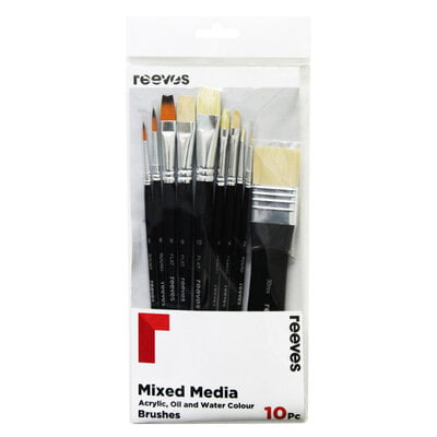 10 Pack Mixed media - Golden synthetic flat 2 pack