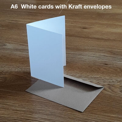 50 x A6 Blank Creased WHITE Cards - with KRAFT envelopes