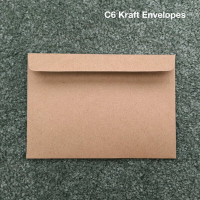 100 x Kraft Envelopes. Size C6 (114mm x 162 mm)