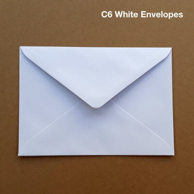 BOX of 500 White Envelopes. Size C6 (114mm x 162 mm)