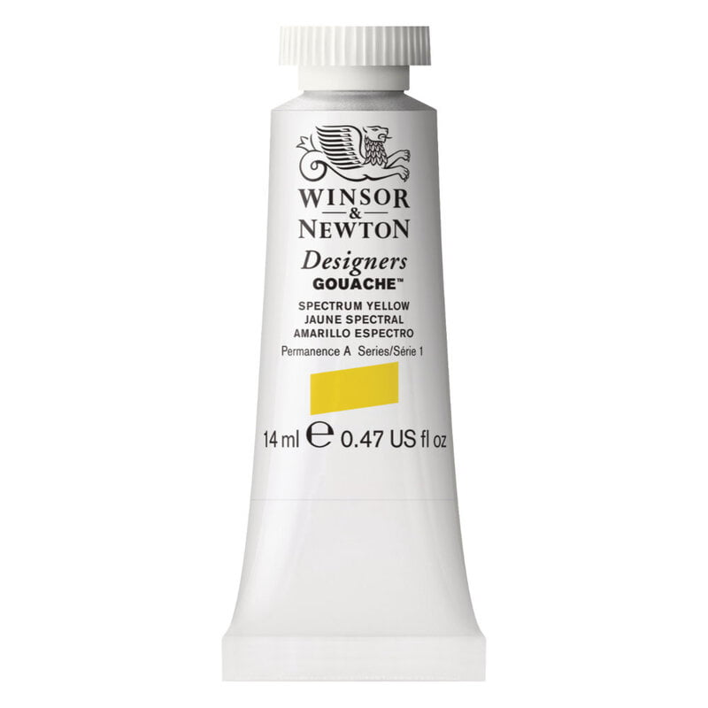 W&N Des Gouache 14ml Spectrum Yellow 627 S1